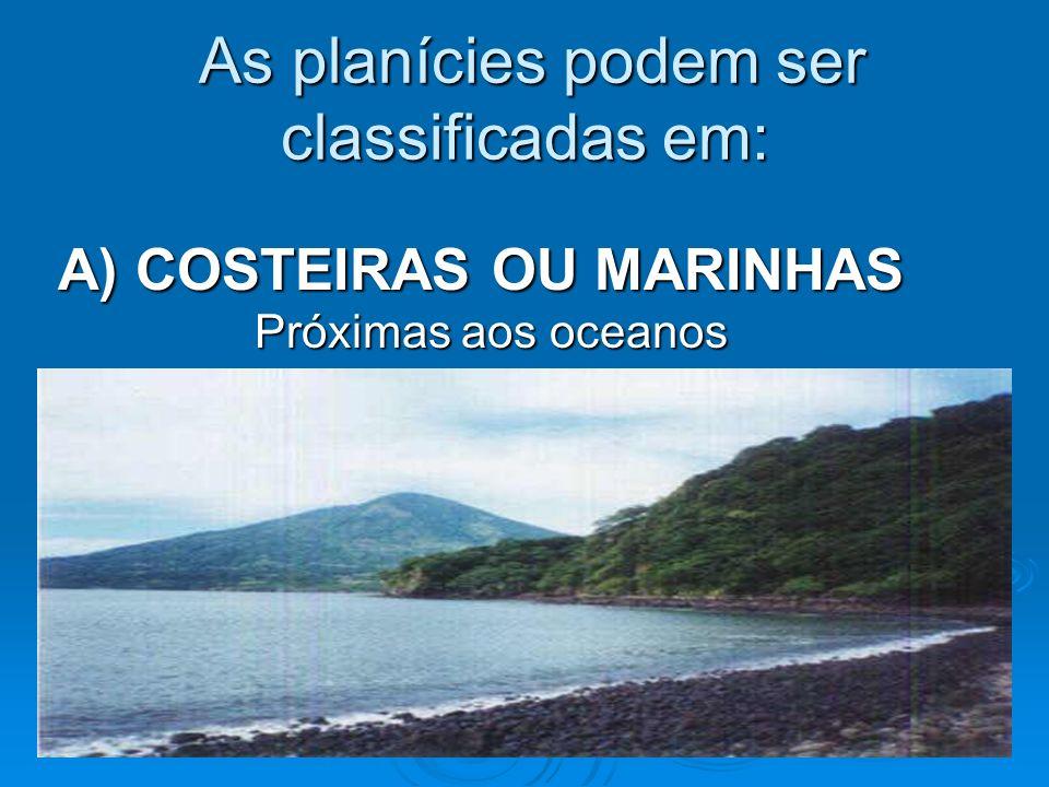 B) CONTINENTAIS Planície Lacustre - Portugal Planície de Piemonte - Planície aluvional ou fluvial