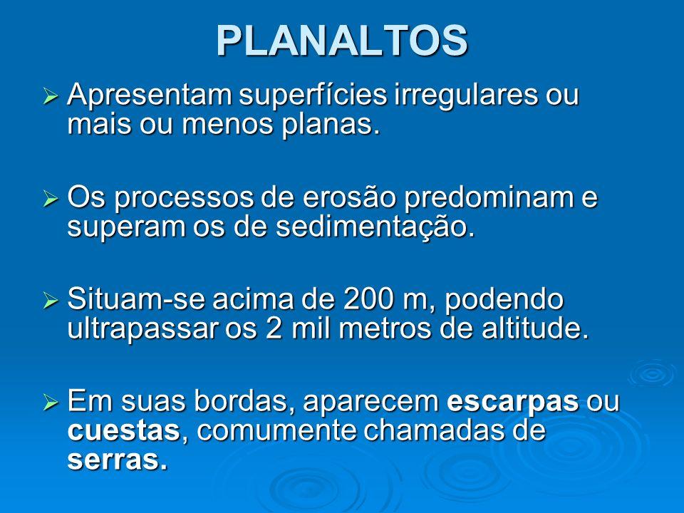 PLANALTOS Planaltos residuais de Franca - SP Escarpas – Timor Leste Cuestas - Japão