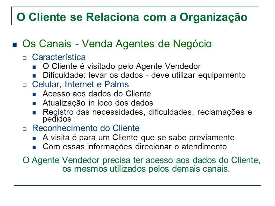 O Cliente se Relaciona com a Organização Os Canais - Venda Agentes de Negócio Característica O Cliente é visitado pelo Agente Vendedor Dificuldade: le