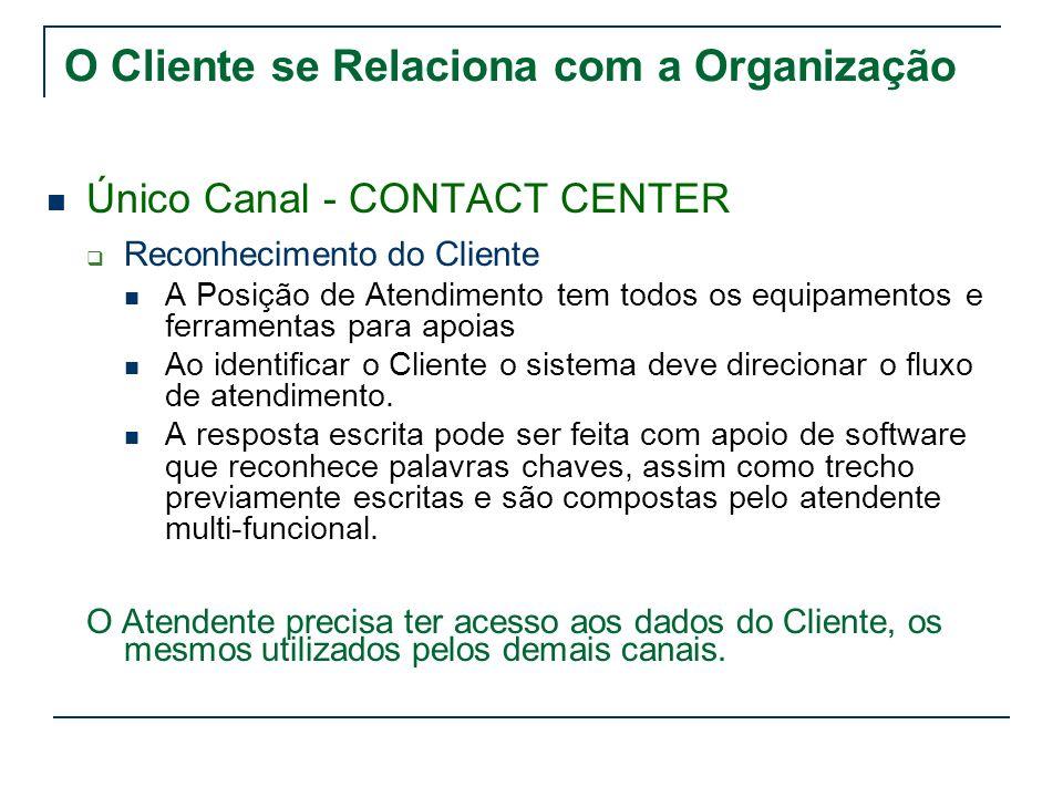 O Cliente se Relaciona com a Organização Único Canal - CONTACT CENTER Reconhecimento do Cliente A Posição de Atendimento tem todos os equipamentos e f