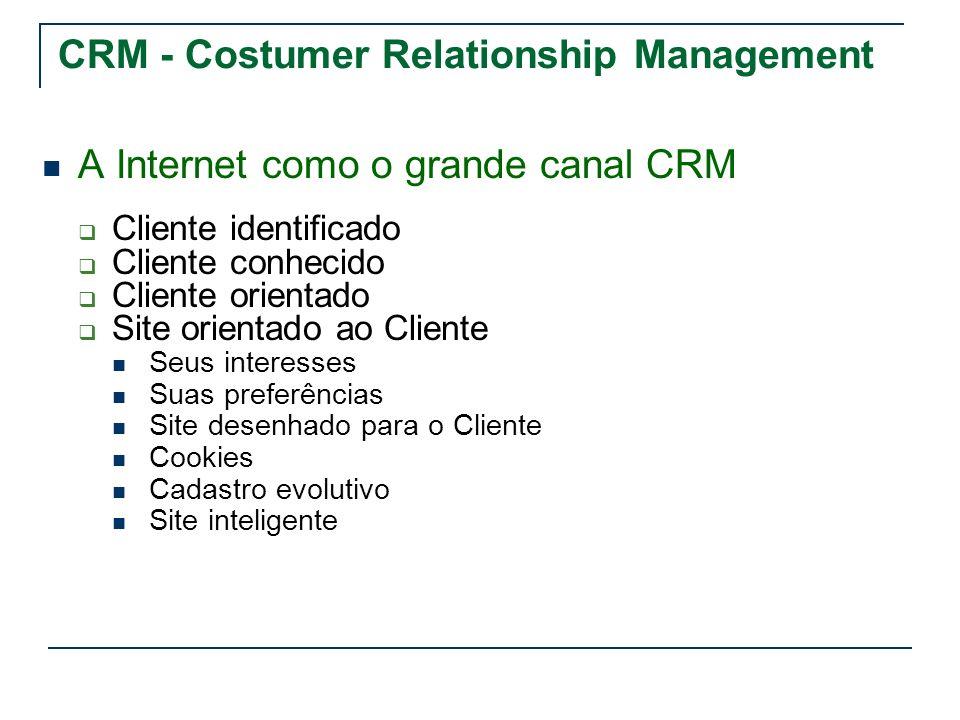 CRM - Costumer Relationship Management A Internet como o grande canal CRM Cliente identificado Cliente conhecido Cliente orientado Site orientado ao C
