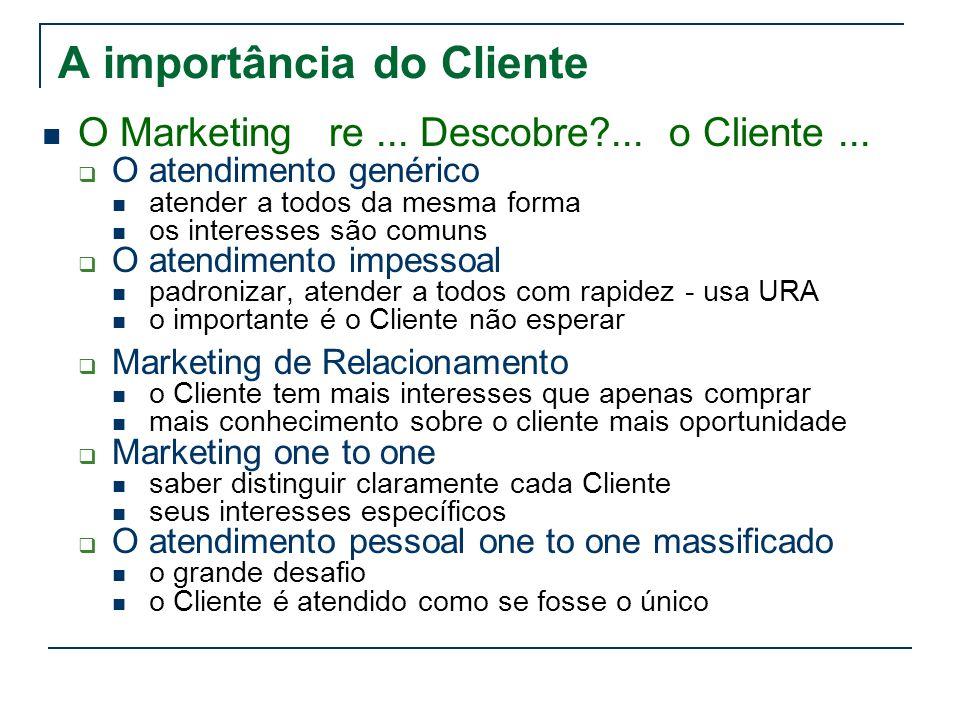 A importância do Cliente O Marketing re... Descobre?... o Cliente... O atendimento genérico atender a todos da mesma forma os interesses são comuns O