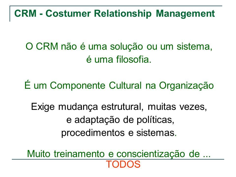 CRM - Costumer Relationship Management O CRM não é uma solução ou um sistema, é uma filosofia. É um Componente Cultural na Organização Exige mudança e