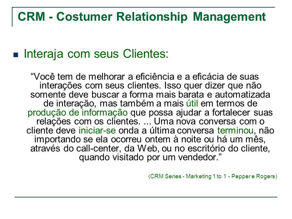 CRM - Costumer Relationship Management Interaja com seus Clientes: Você tem de melhorar a eficiência e a eficácia de suas interações com seus clientes
