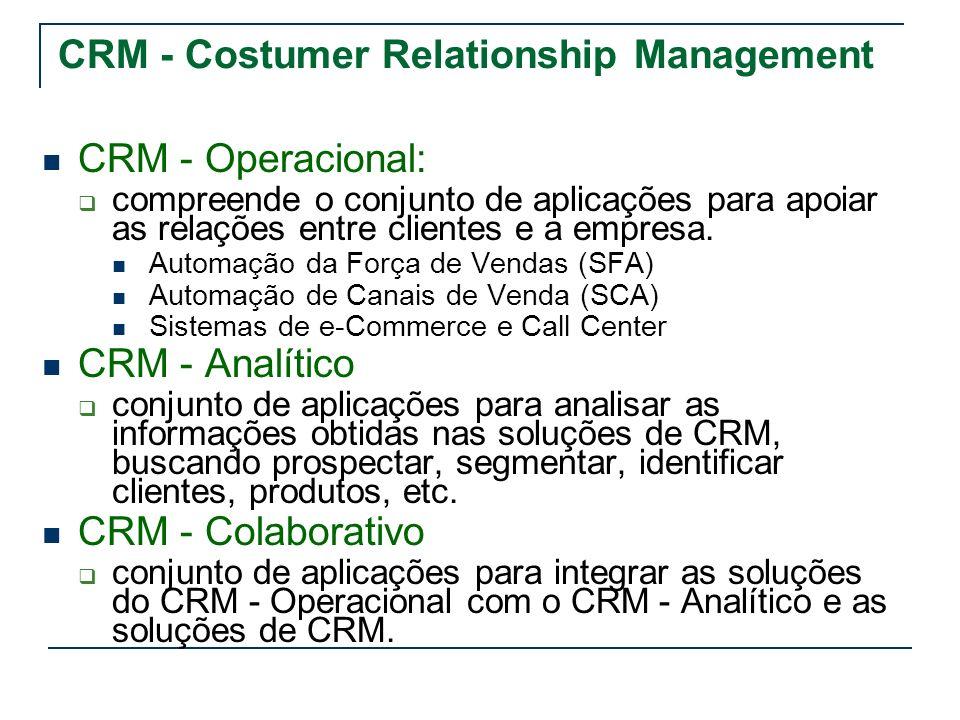 CRM - Costumer Relationship Management CRM - Operacional: compreende o conjunto de aplicações para apoiar as relações entre clientes e a empresa. Auto
