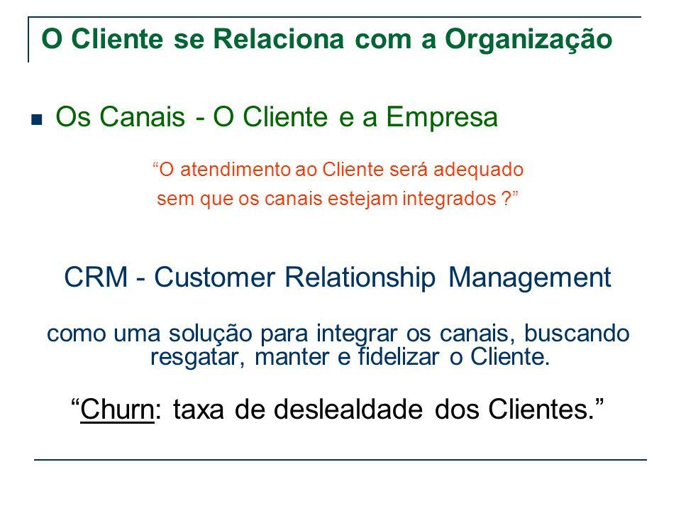 O Cliente se Relaciona com a Organização Os Canais - O Cliente e a Empresa O atendimento ao Cliente será adequado sem que os canais estejam integrados