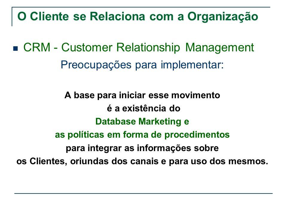 O Cliente se Relaciona com a Organização CRM - Customer Relationship Management Preocupações para implementar: A base para iniciar esse movimento é a