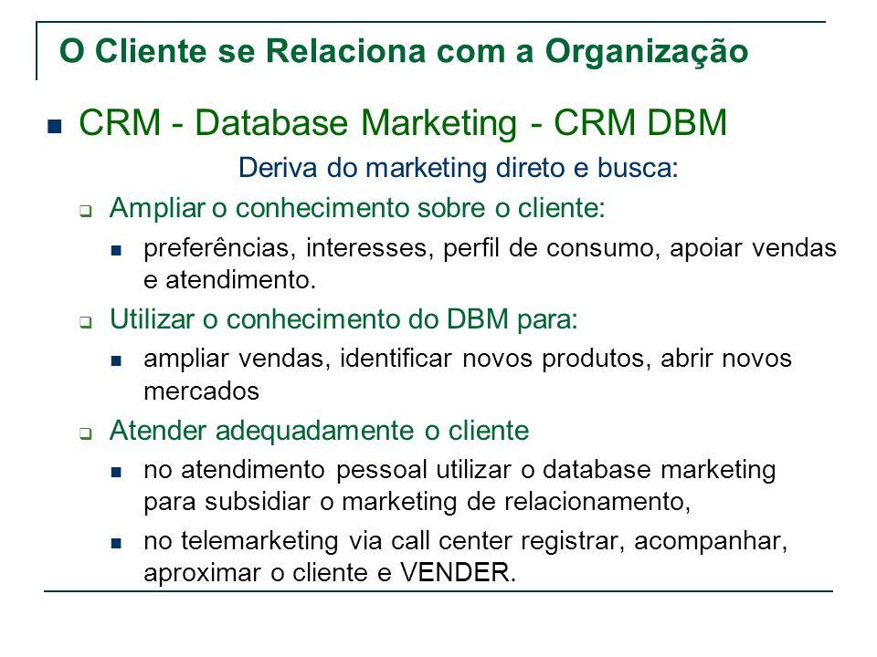 CRM - Database Marketing - CRM DBM Deriva do marketing direto e busca: Ampliar o conhecimento sobre o cliente: preferências, interesses, perfil de con