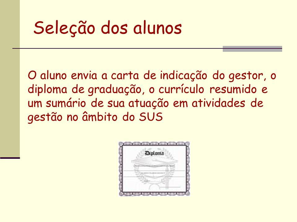 Seleção dos alunos O aluno envia a carta de indicação do gestor, o diploma de graduação, o currículo resumido e um sumário de sua atuação em atividade