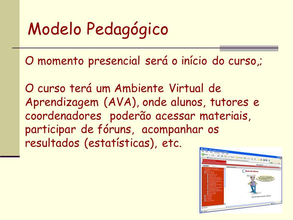O momento presencial será o início do curso,; O curso terá um Ambiente Virtual de Aprendizagem (AVA), onde alunos, tutores e coordenadores poderão ace