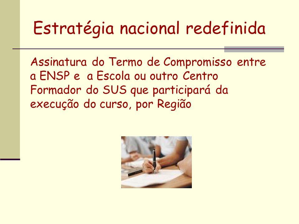 Assinatura do Termo de Compromisso entre a ENSP e a Escola ou outro Centro Formador do SUS que participará da execução do curso, por Região Estratégia