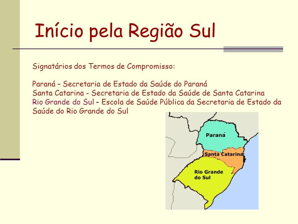 Início pela Região Sul Signatários dos Termos de Compromisso: Paraná – Secretaria de Estado da Saúde do Paraná Santa Catarina - Secretaria de Estado d