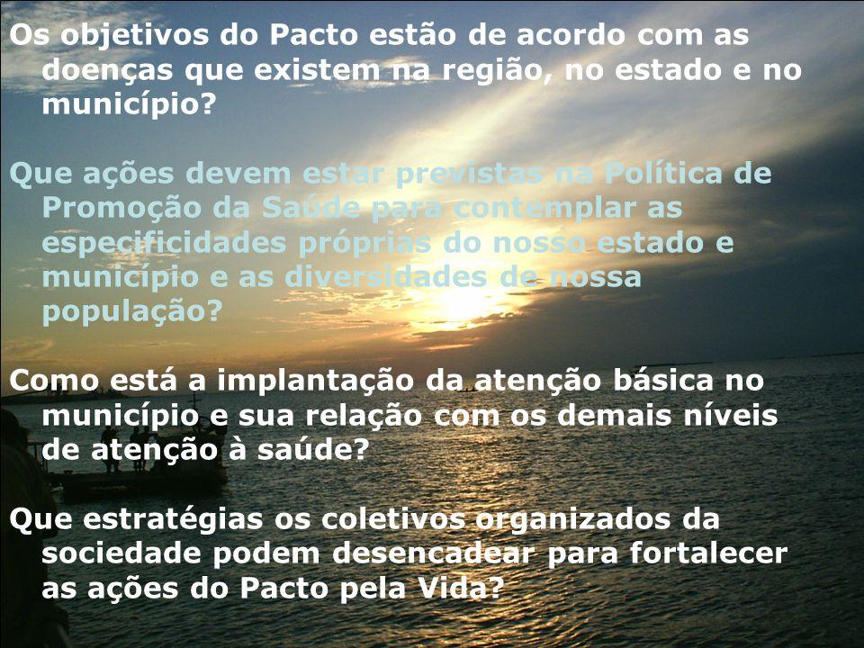 Os objetivos do Pacto estão de acordo com as doenças que existem na região, no estado e no município? Que ações devem estar previstas na Política de P