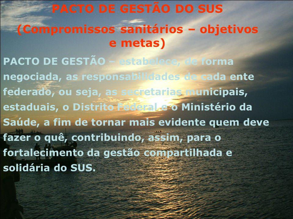 PACTO DE GESTÃO – estabelece, de forma negociada, as responsabilidades de cada ente federado, ou seja, as secretarias municipais, estaduais, o Distrit