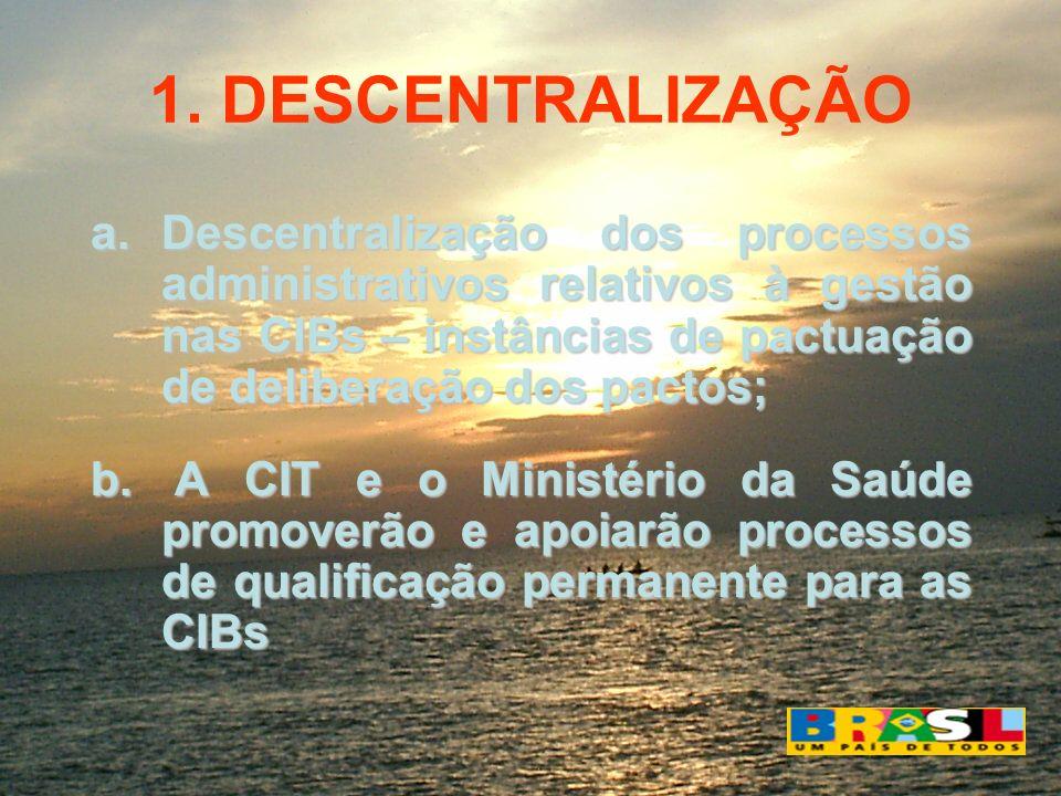 1. DESCENTRALIZAÇÃO a.Descentralização dos processos administrativos relativos à gestão nas CIBs – instâncias de pactuação de deliberação dos pactos;