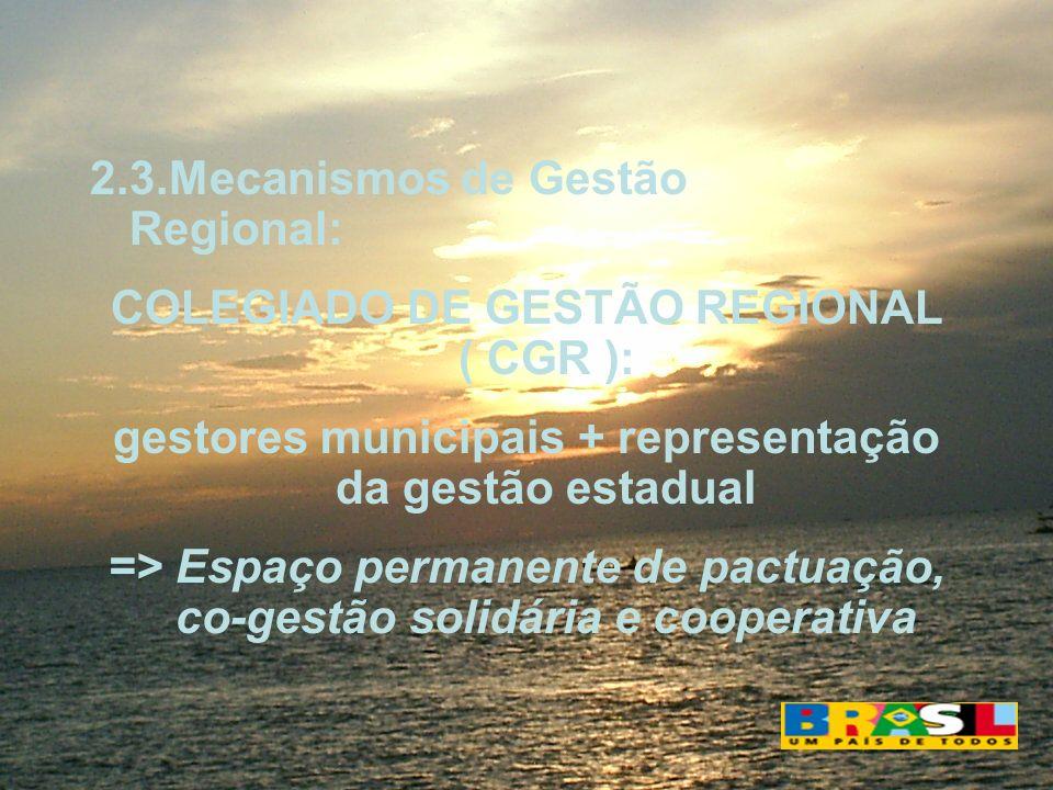 2.3.Mecanismos de Gestão Regional: COLEGIADO DE GESTÃO REGIONAL ( CGR ): gestores municipais + representação da gestão estadual => Espaço permanente d