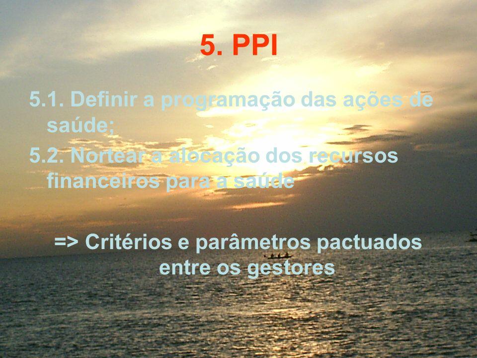 5. PPI 5.1. Definir a programação das ações de saúde; 5.2. Nortear a alocação dos recursos financeiros para a saúde => Critérios e parâmetros pactuado