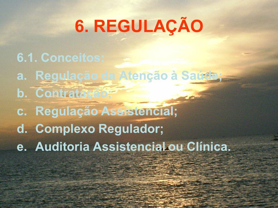 6. REGULAÇÃO 6.1. Conceitos: a.Regulação da Atenção à Saúde; b.Contratação; c.Regulação Assistencial; d.Complexo Regulador; e.Auditoria Assistencial o