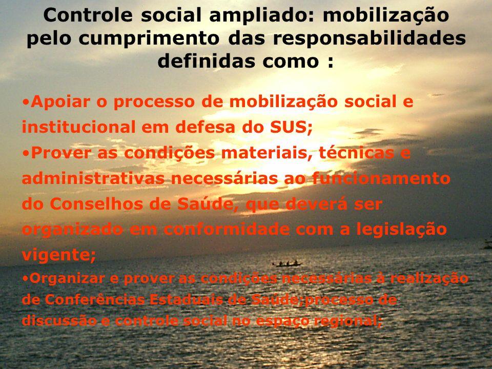 Controle social ampliado: mobilização pelo cumprimento das responsabilidades definidas como : Apoiar o processo de mobilização social e institucional