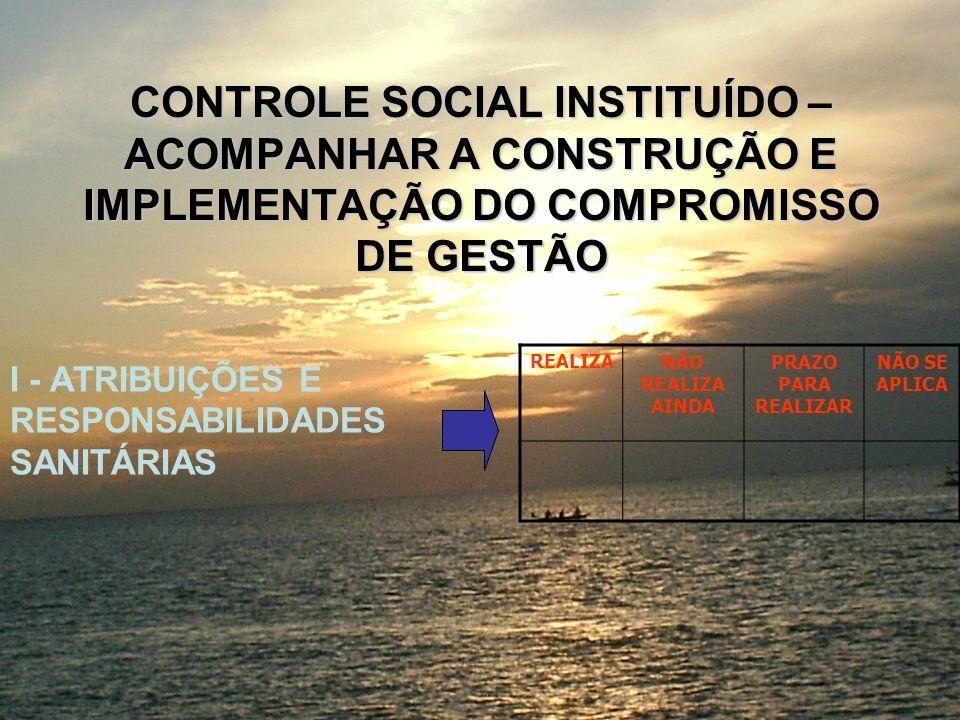 CONTROLE SOCIAL INSTITUÍDO – ACOMPANHAR A CONSTRUÇÃO E IMPLEMENTAÇÃO DO COMPROMISSO DE GESTÃO I - ATRIBUIÇÕES E RESPONSABILIDADES SANITÁRIAS REALIZANÃ