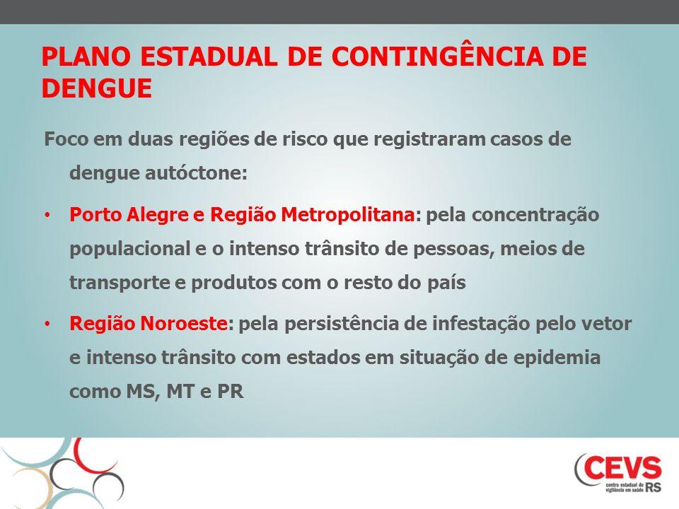 PLANO ESTADUAL DE CONTINGÊNCIA DE DENGUE Foco em duas regiões de risco que registraram casos de dengue autóctone: Porto Alegre e Região Metropolitana: