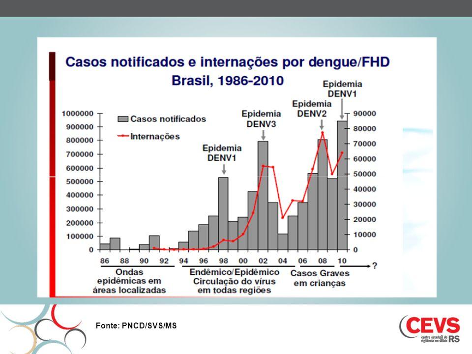 DENGUE RS 2010 4.922 casos notificados 131 casos importados 3.366 casos autóctones Municípios com circulação viral: Ijuí (2.957 casos), Santa Rosa (166 casos), Santo Ângelo (90 casos), Crissiumal (53 casos), Cândido Godói (5 casos), Três de Maio (14 casos) Isolado o sorotipo Denv 2 em pacientes de Ijuí e Santo Ângelo e Denv 1 em Santa Rosa (2007 - Denv 3 em Giruá e Horizontina) Porto Alegre com 05 casos autóctones em um bairro (Jd.