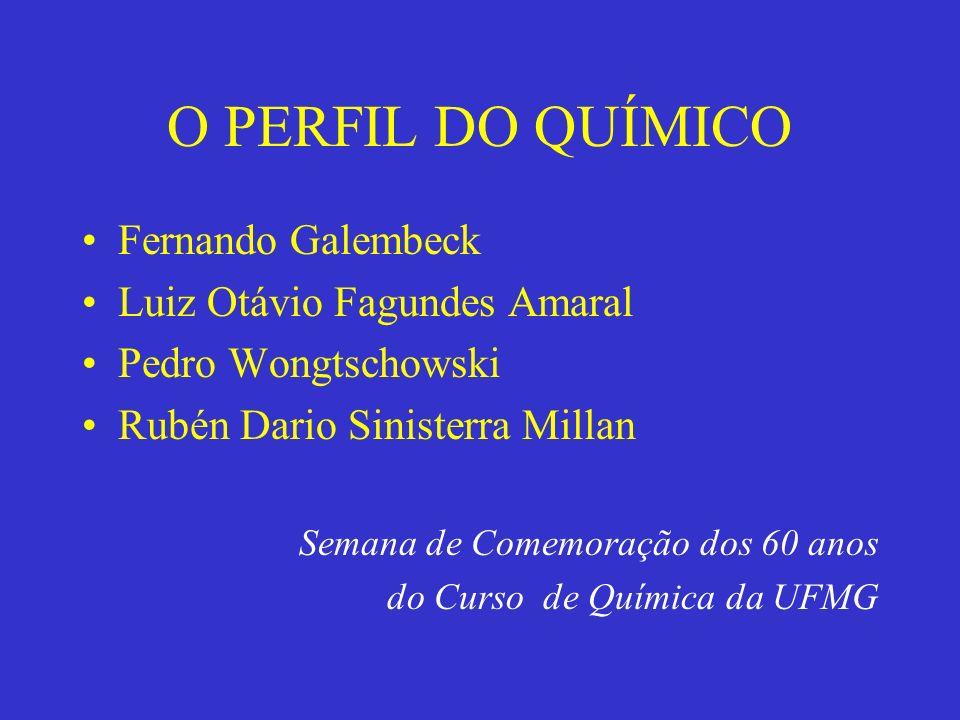 O PERFIL DO QUÍMICO Fernando Galembeck Luiz Otávio Fagundes Amaral Pedro Wongtschowski Rubén Dario Sinisterra Millan Semana de Comemoração dos 60 anos