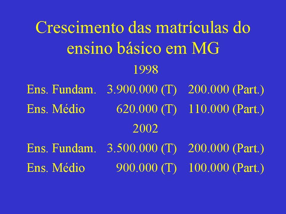 Crescimento das matrículas do ensino básico em MG