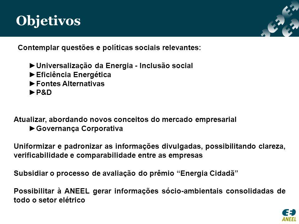 Contemplar questões e políticas sociais relevantes: Universalização da Energia - Inclusão social Eficiência Energética Fontes Alternativas P&D Atualiz