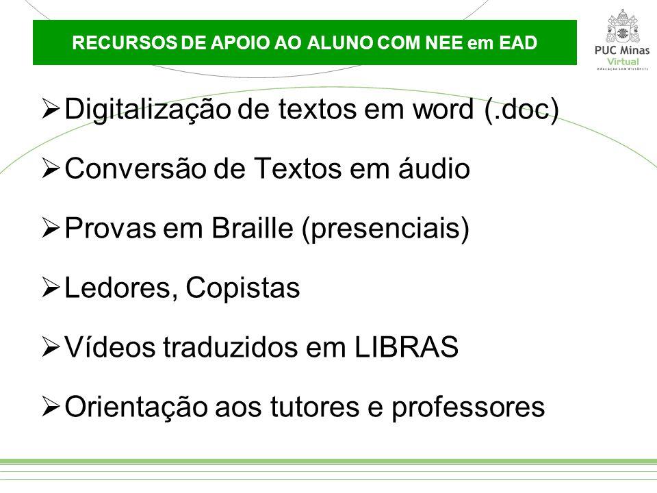 RECURSOS DE APOIO AO ALUNO COM NEE em EAD Digitalização de textos em word (.doc) Conversão de Textos em áudio Provas em Braille (presenciais) Ledores,