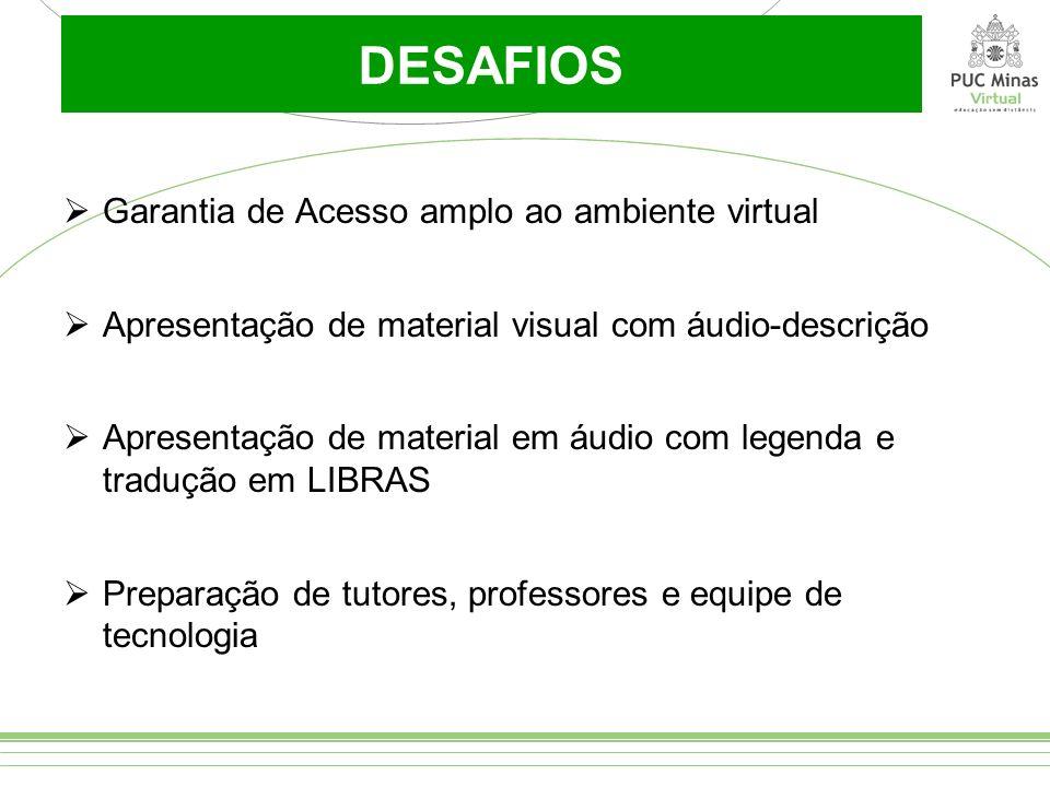 DESAFIOS Garantia de Acesso amplo ao ambiente virtual Apresentação de material visual com áudio-descrição Apresentação de material em áudio com legend