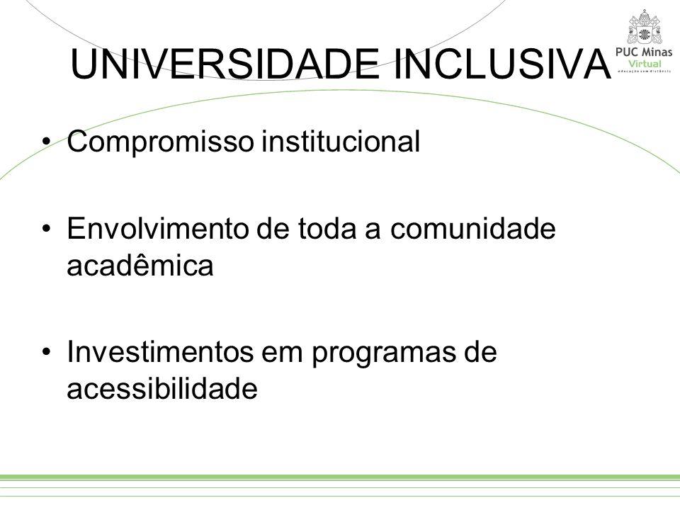 UNIVERSIDADE INCLUSIVA Compromisso institucional Envolvimento de toda a comunidade acadêmica Investimentos em programas de acessibilidade