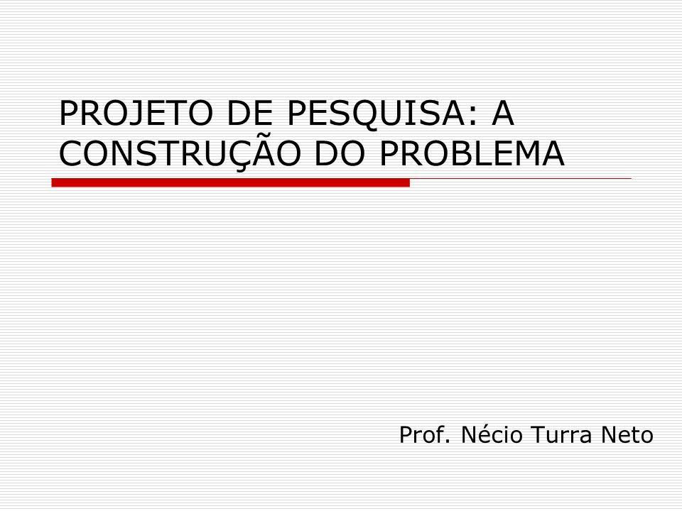PROJETO DE PESQUISA: A CONSTRUÇÃO DO PROBLEMA Prof. Nécio Turra Neto