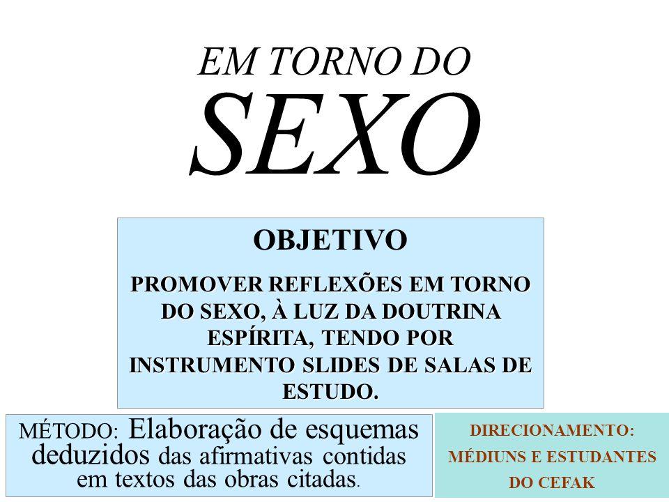 O SEXO O SEXO É A SOMA DAS QUALIDADES : - FEMININAS OU - MASCULINAS QUE CARACTERIZAM A MENTE ( AÇÃO E REAÇÃO) CAP.