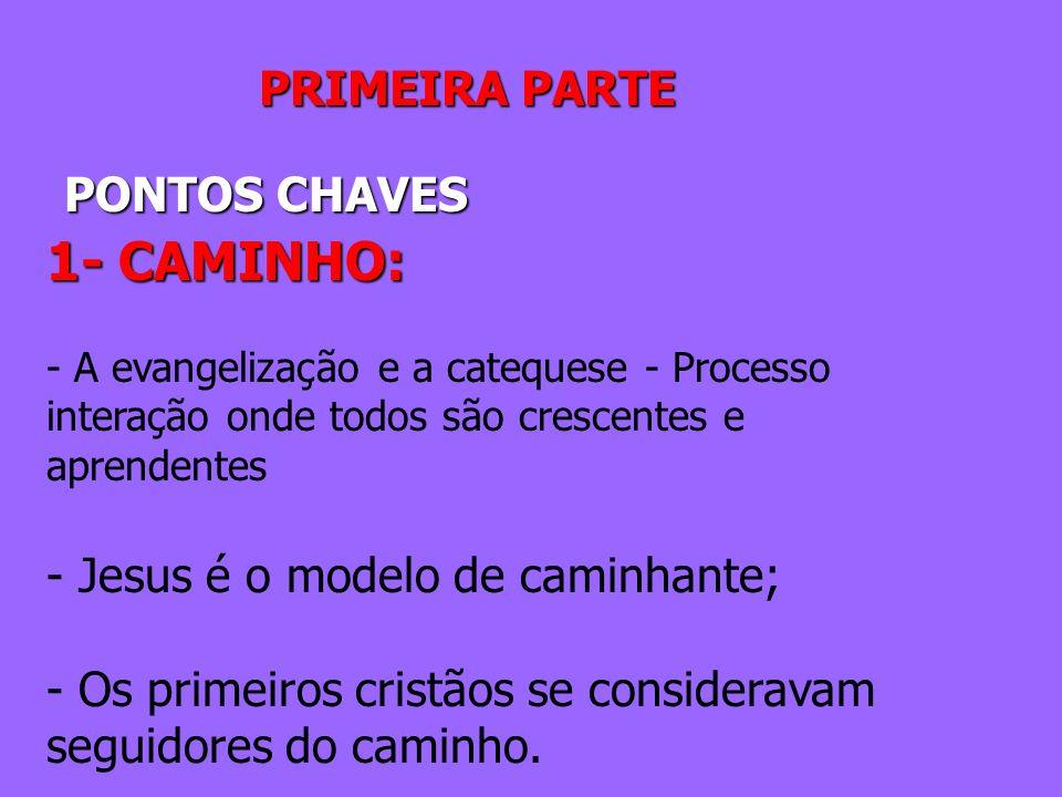 PRIMEIRA PARTE PONTOS CHAVES 1- CAMINHO: - A evangelização e a catequese - Processo interação onde todos são crescentes e aprendentes - Jesus é o mode