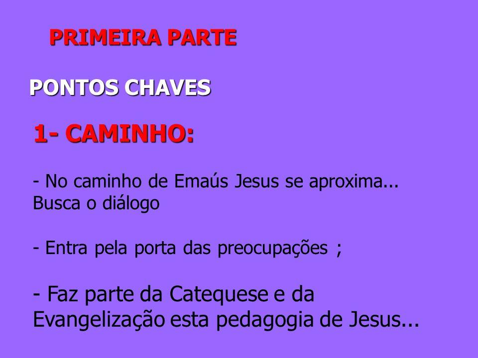 PRIMEIRA PARTE PONTOS CHAVES 1- CAMINHO: - No caminho de Emaús Jesus se aproxima... Busca o diálogo - Entra pela porta das preocupações ; - Faz parte