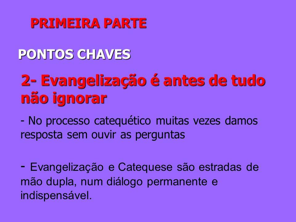 PRIMEIRA PARTE PONTOS CHAVES 2- Evangelização é antes de tudo não ignorar - No processo catequético muitas vezes damos resposta sem ouvir as perguntas