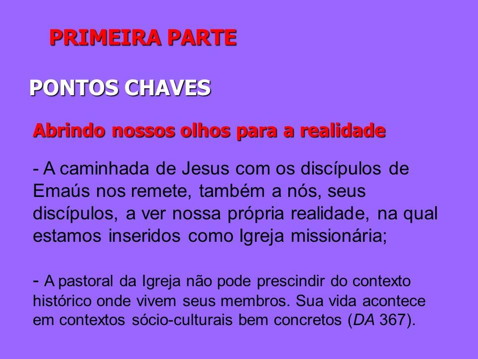 PRIMEIRA PARTE PONTOS CHAVES Abrindo nossos olhos para a realidade - A caminhada de Jesus com os discípulos de Emaús nos remete, também a nós, seus di