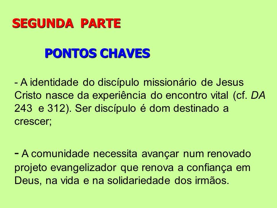 PONTOS CHAVES SEGUNDA PARTE - A identidade do discípulo missionário de Jesus Cristo nasce da experiência do encontro vital (cf. DA 243 e 312). Ser dis