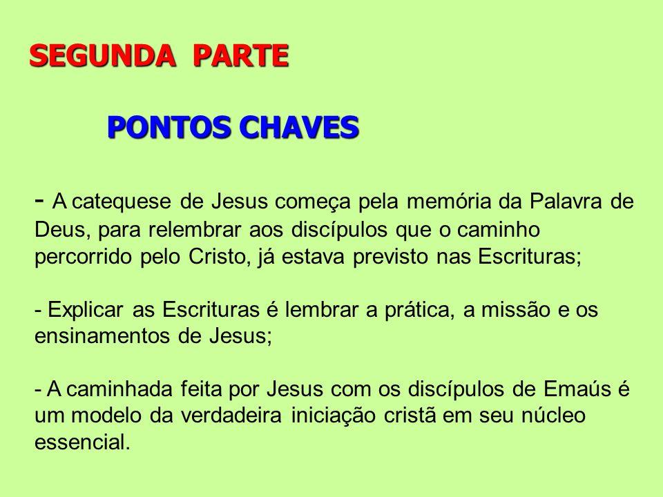 PONTOS CHAVES SEGUNDA PARTE - A catequese de Jesus começa pela memória da Palavra de Deus, para relembrar aos discípulos que o caminho percorrido pelo