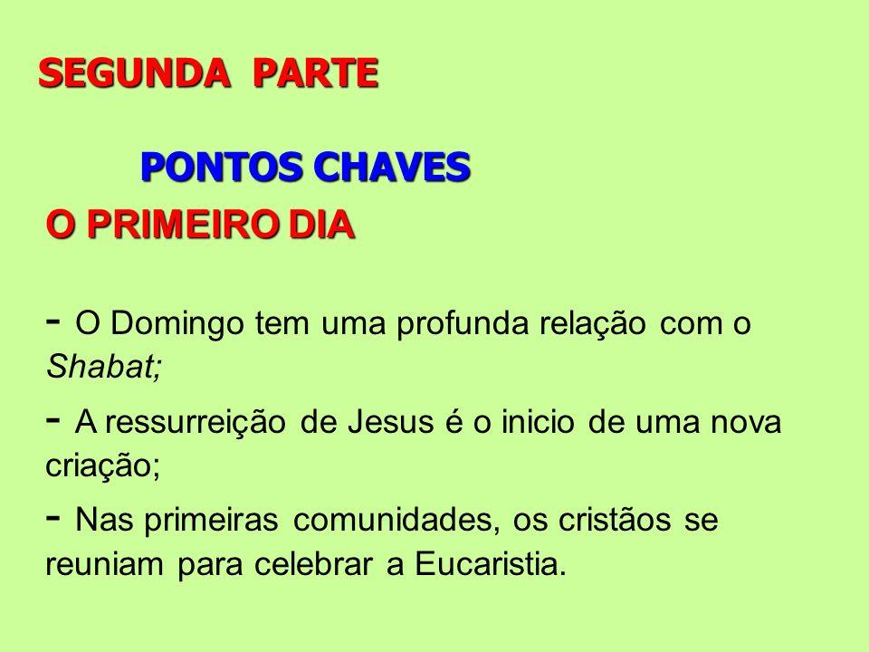 PONTOS CHAVES SEGUNDA PARTE O PRIMEIRO DIA - O Domingo tem uma profunda relação com o Shabat; - A ressurreição de Jesus é o inicio de uma nova criação