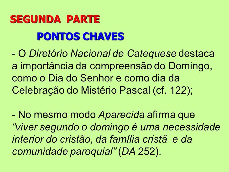 PONTOS CHAVES SEGUNDA PARTE - O Diretório Nacional de Catequese destaca a importância da compreensão do Domingo, como o Dia do Senhor e como dia da Ce
