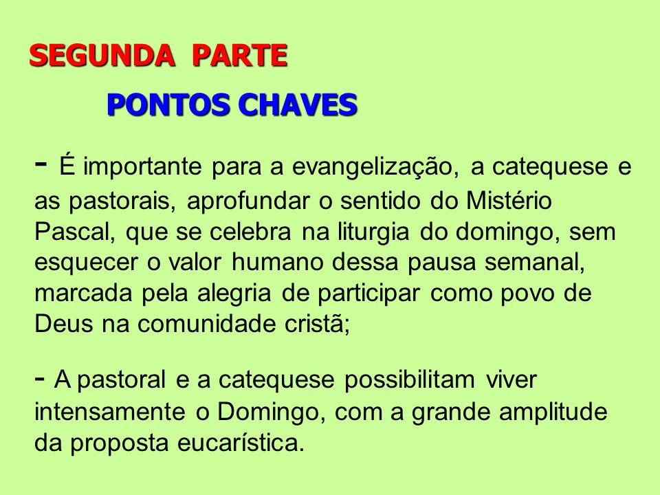 PONTOS CHAVES SEGUNDA PARTE - É importante para a evangelização, a catequese e as pastorais, aprofundar o sentido do Mistério Pascal, que se celebra n
