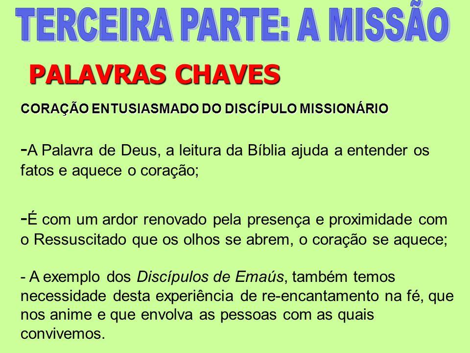 PALAVRAS CHAVES CORAÇÃO ENTUSIASMADO DO DISCÍPULO MISSIONÁRIO - A Palavra de Deus, a leitura da Bíblia ajuda a entender os fatos e aquece o coração; -