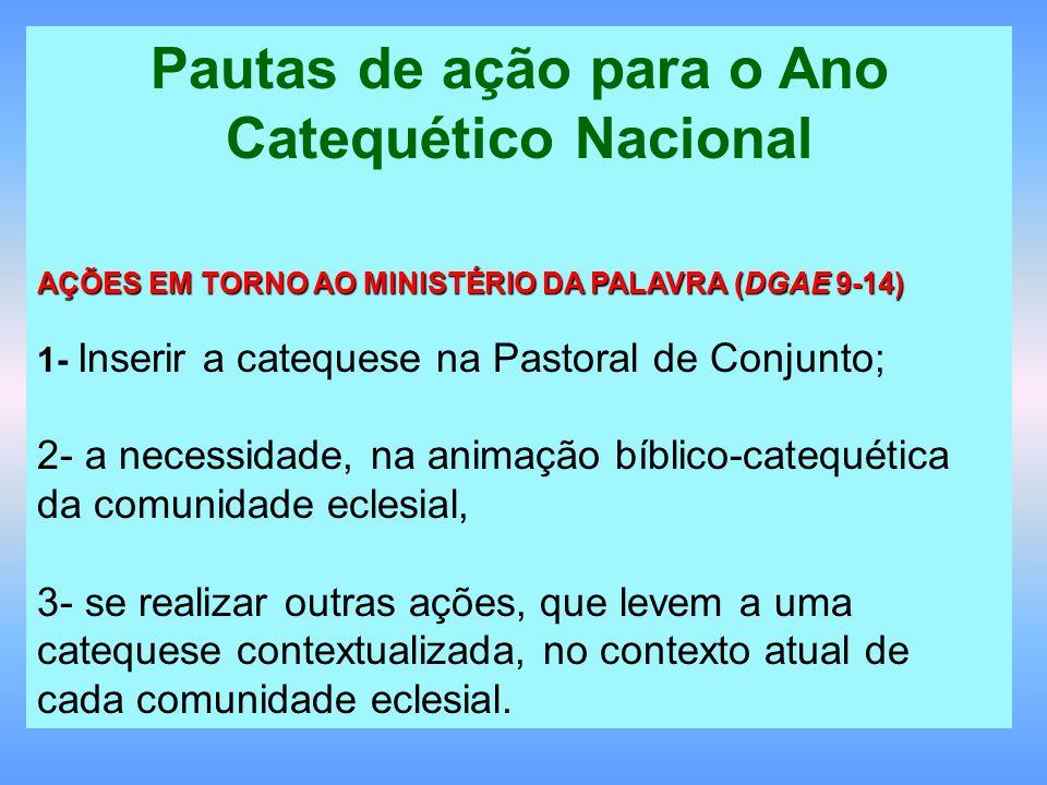 Pautas de ação para o Ano Catequético Nacional AÇÕES EM TORNO AO MINISTÉRIO DA PALAVRA (DGAE 9-14) 1- Inserir a catequese na Pastoral de Conjunto; 2-