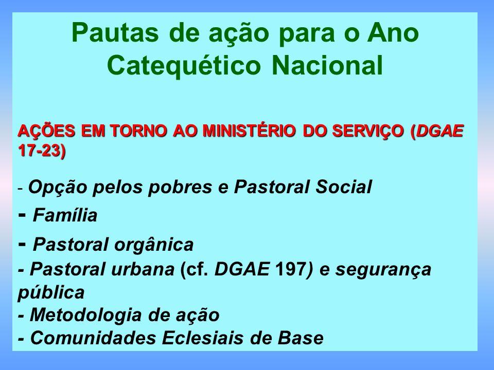 Pautas de ação para o Ano Catequético Nacional AÇÕES EM TORNO AO MINISTÉRIO DO SERVIÇO (DGAE 17-23) - Opção pelos pobres e Pastoral Social - Família -