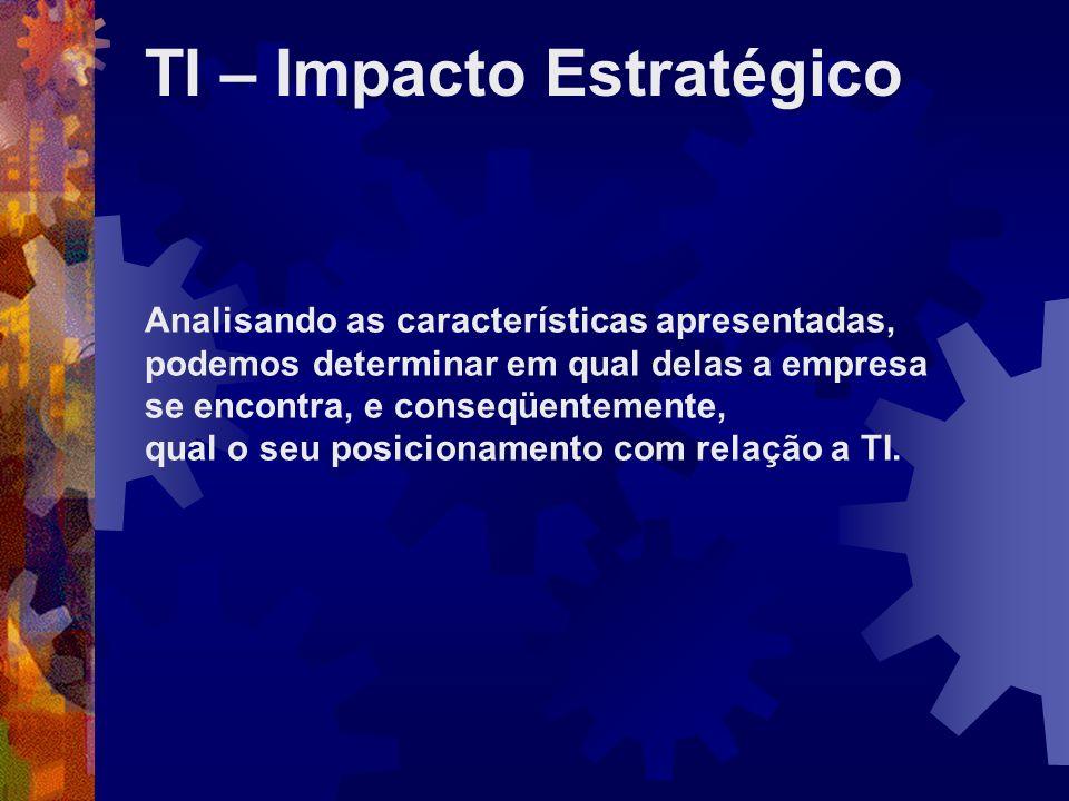 TI – Impacto Estratégico Analisando as características apresentadas, podemos determinar em qual delas a empresa se encontra, e conseqüentemente, qual
