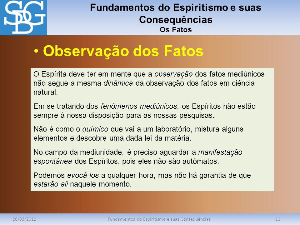 Fundamentos do Espiritismo e suas Consequências Os Fatos 28/03/2012Fundamentos do Espiritismo e suas Consequências11 observação dinâmica O Espírita de