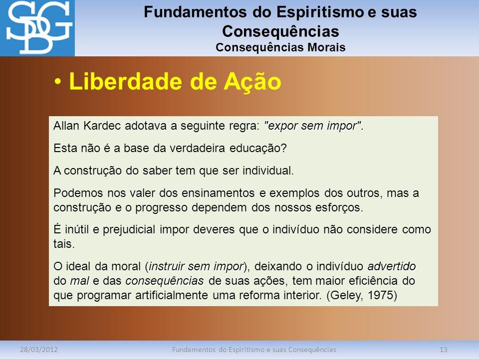Fundamentos do Espiritismo e suas Consequências Consequências Morais 28/03/2012Fundamentos do Espiritismo e suas Consequências13