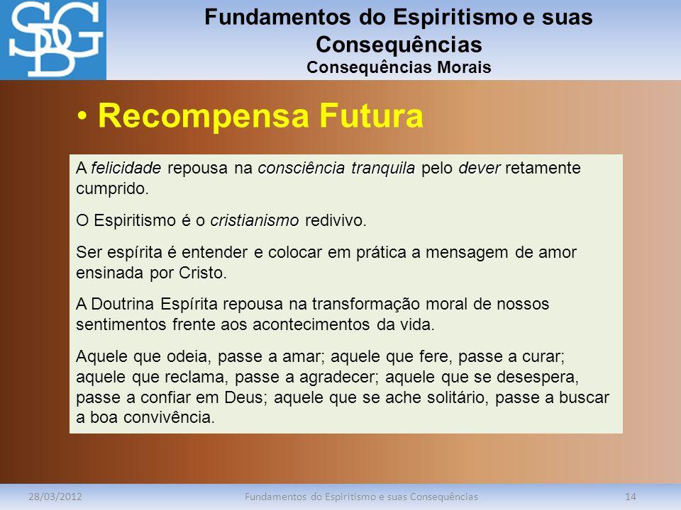 Fundamentos do Espiritismo e suas Consequências Consequências Morais 28/03/2012Fundamentos do Espiritismo e suas Consequências14 felicidadeconsciência